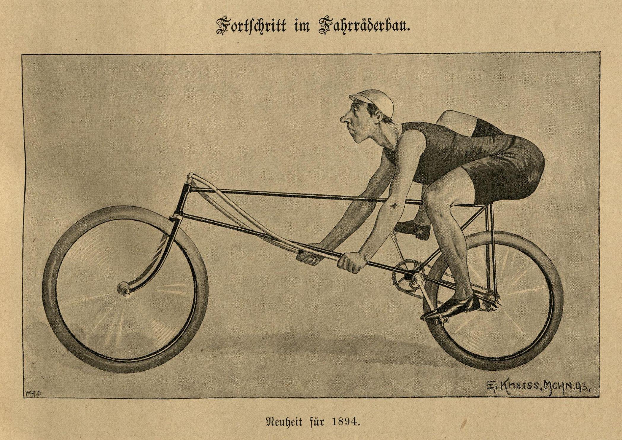 Bild: Fortschritt im Fahrräderbau: der Oberkörper ist völlig nach vorne gebeugt