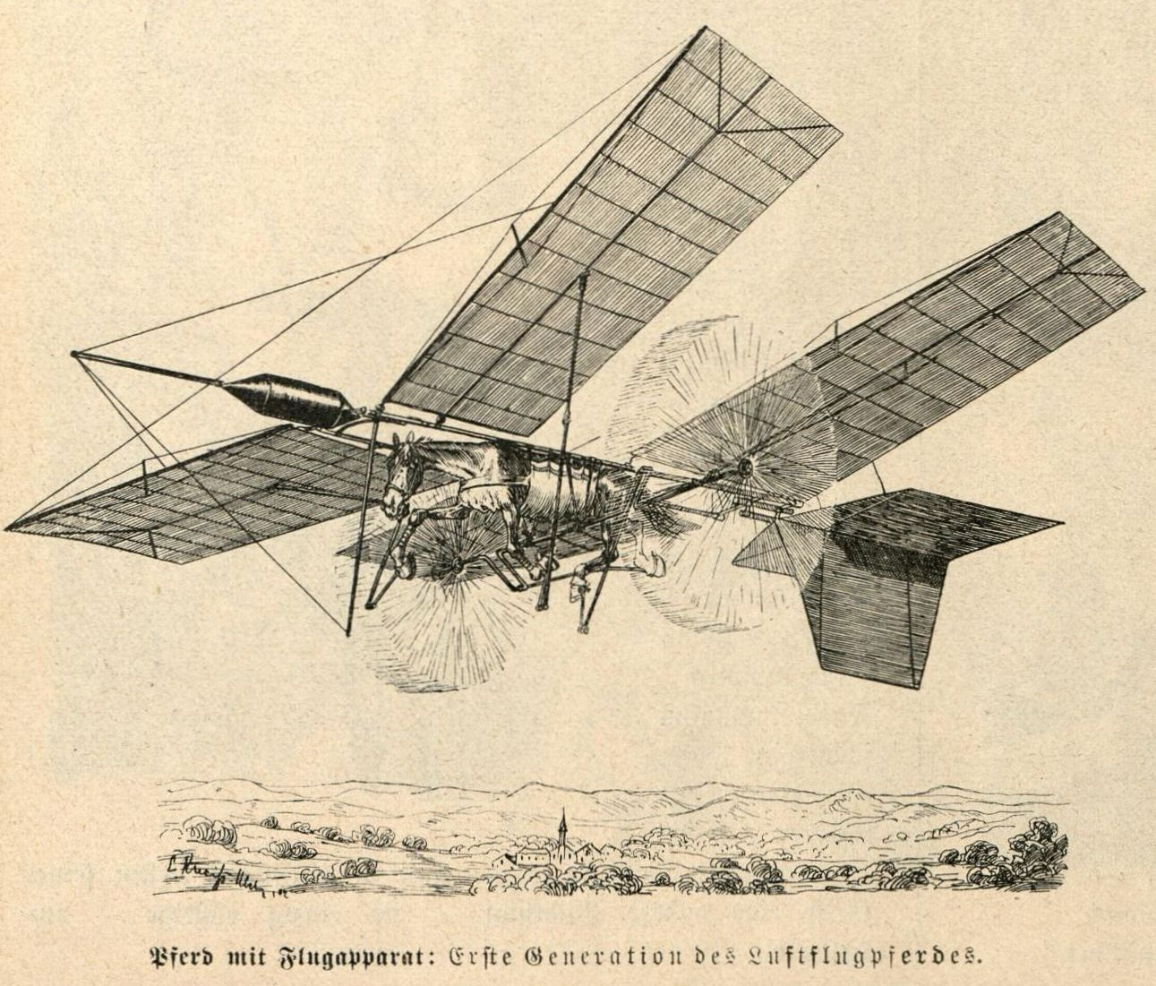 Bild: Pferd mit Flugapparat: Erste Generation des Luftflugpferdes