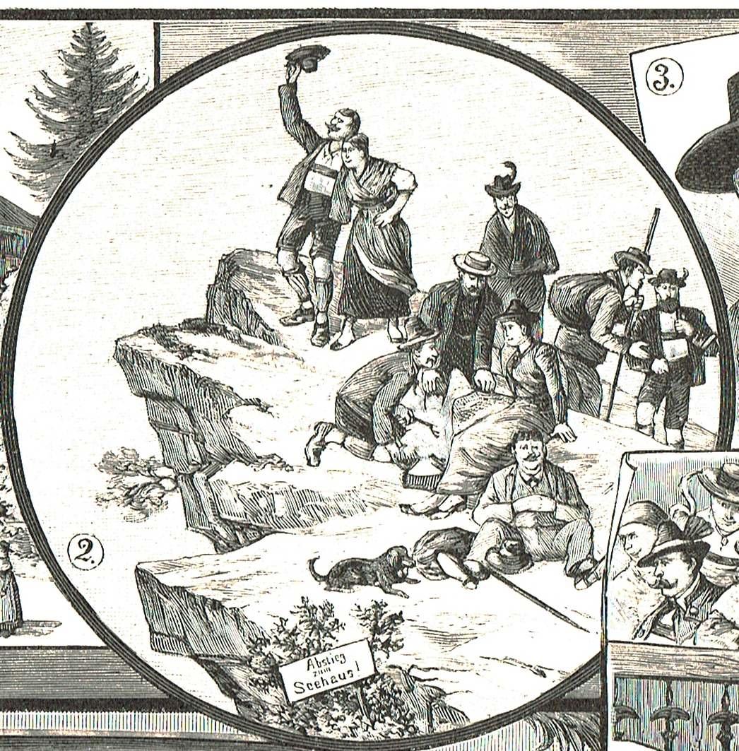 Der Bühnenvorhang von Emil Kneiß auf einem Holzstich von 1894