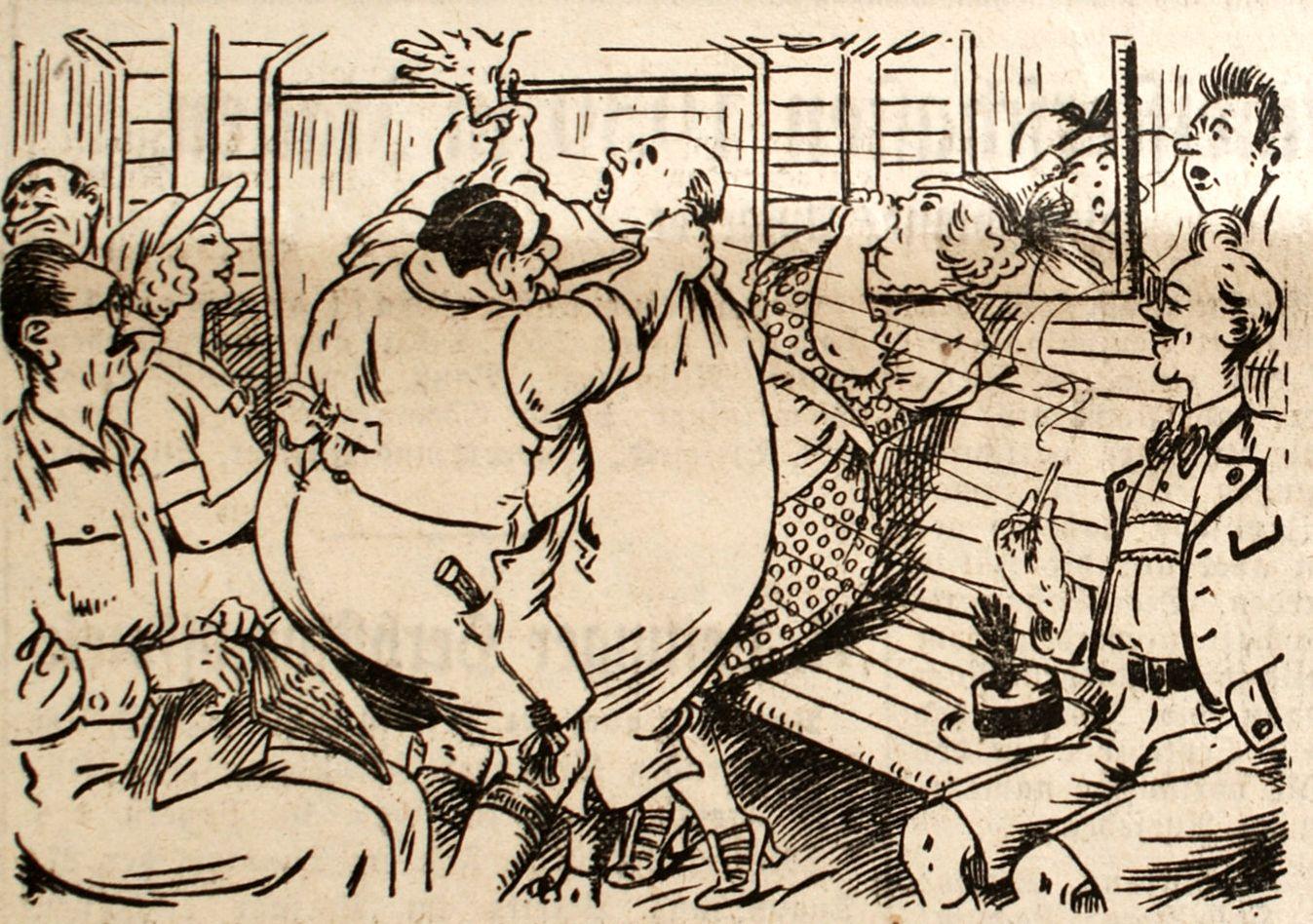 Bild: Herr Zwack will erneut das Fenster des Abteils öffnen