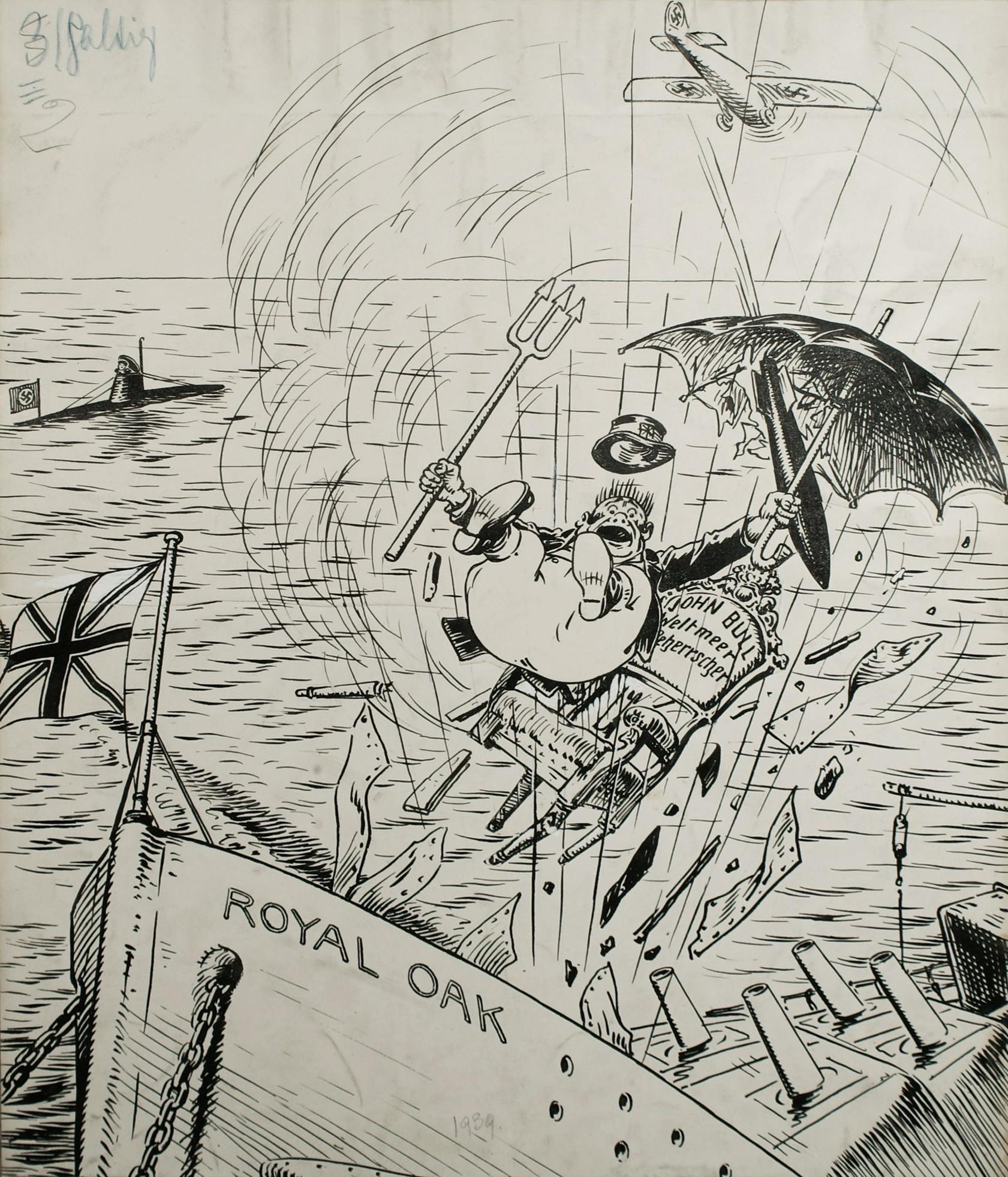 """Bild: Das Schlachtschiff """"Royal Oak"""" wird in Scapa Flow versenkt"""