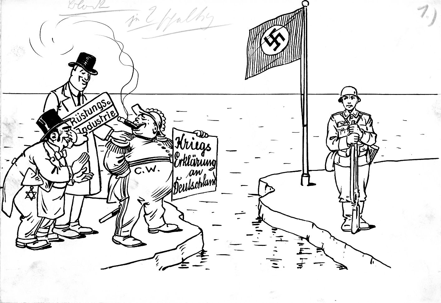 """Bild: C.W. mit """"Kriegserklärung an Deutschland"""""""