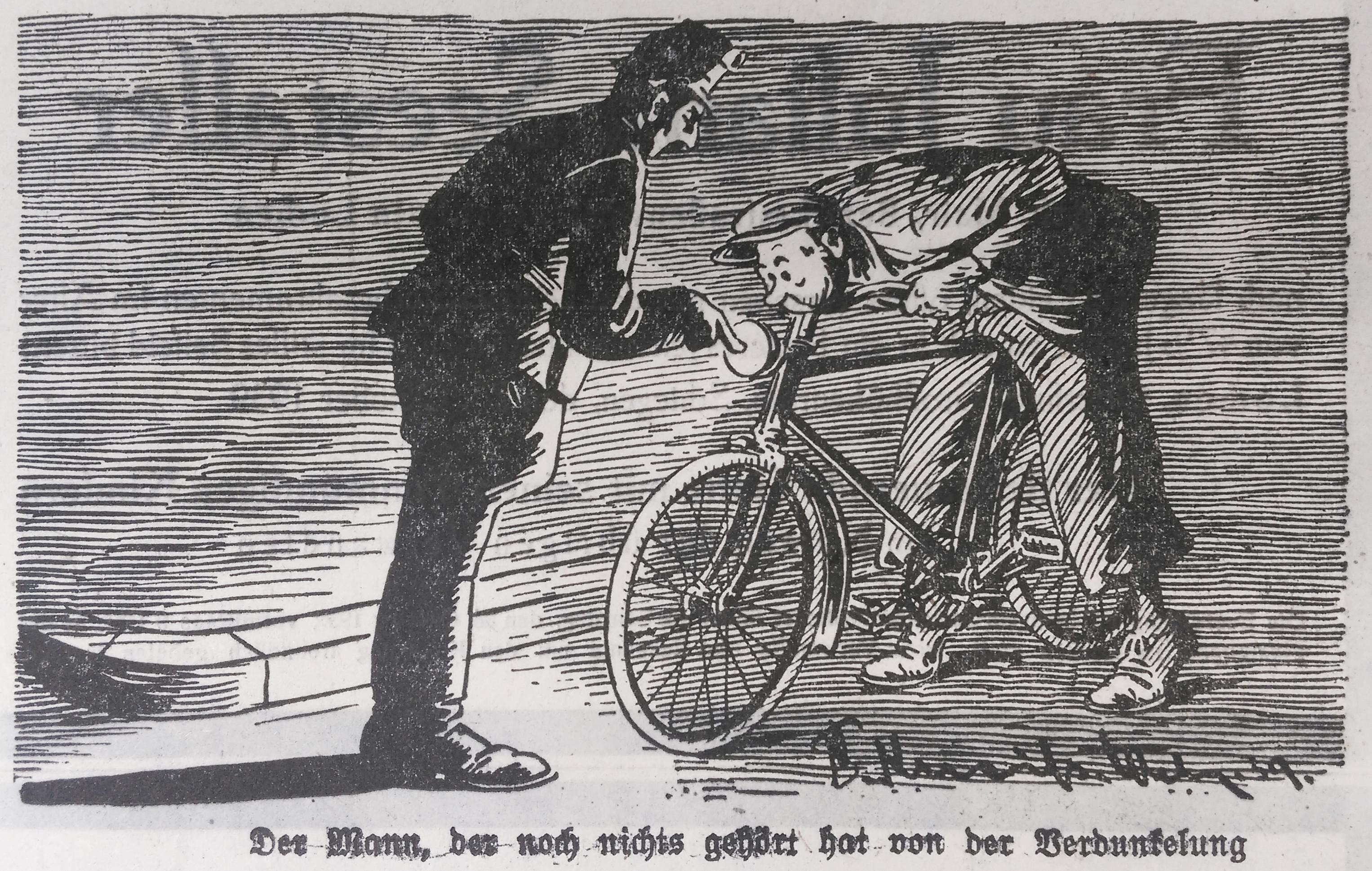 Bild: Radfahrer, der noch nichts von der Verdunkelung gehört hat