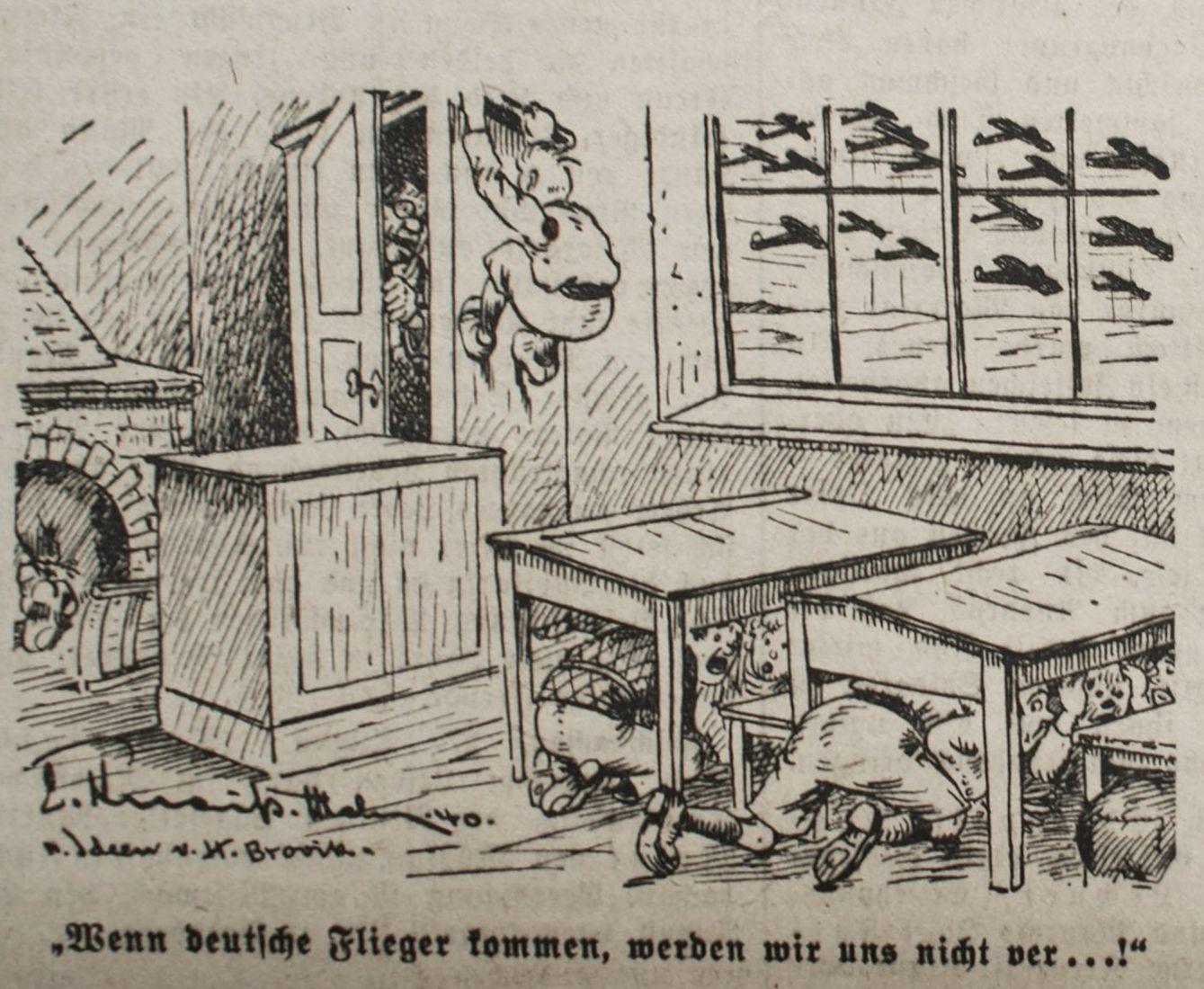 """Bild: In einer Schule: """"Wenn deutsche Flieger kommen, werden wir uns nicht ver..."""""""