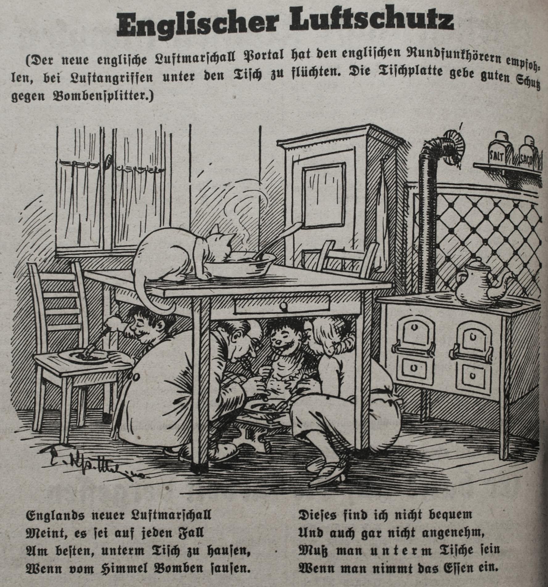 """Bild: Englischer Luftschutz """" Tischplatte gibt guten Schutz gegen Bombensplitter"""""""
