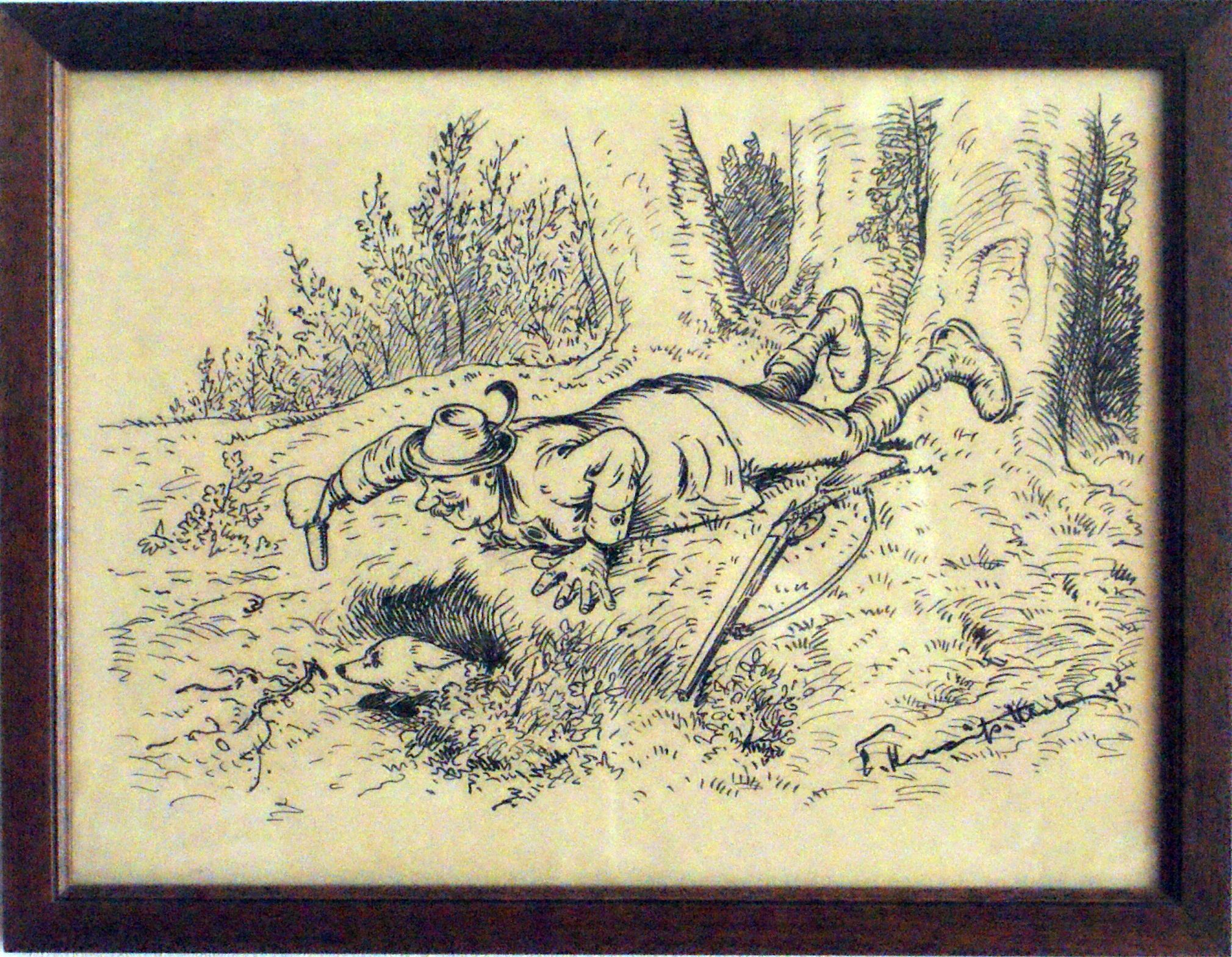 Bild: Jäger versucht, durch einen Fingerling einen Fuchs aus dem Bau zu locken