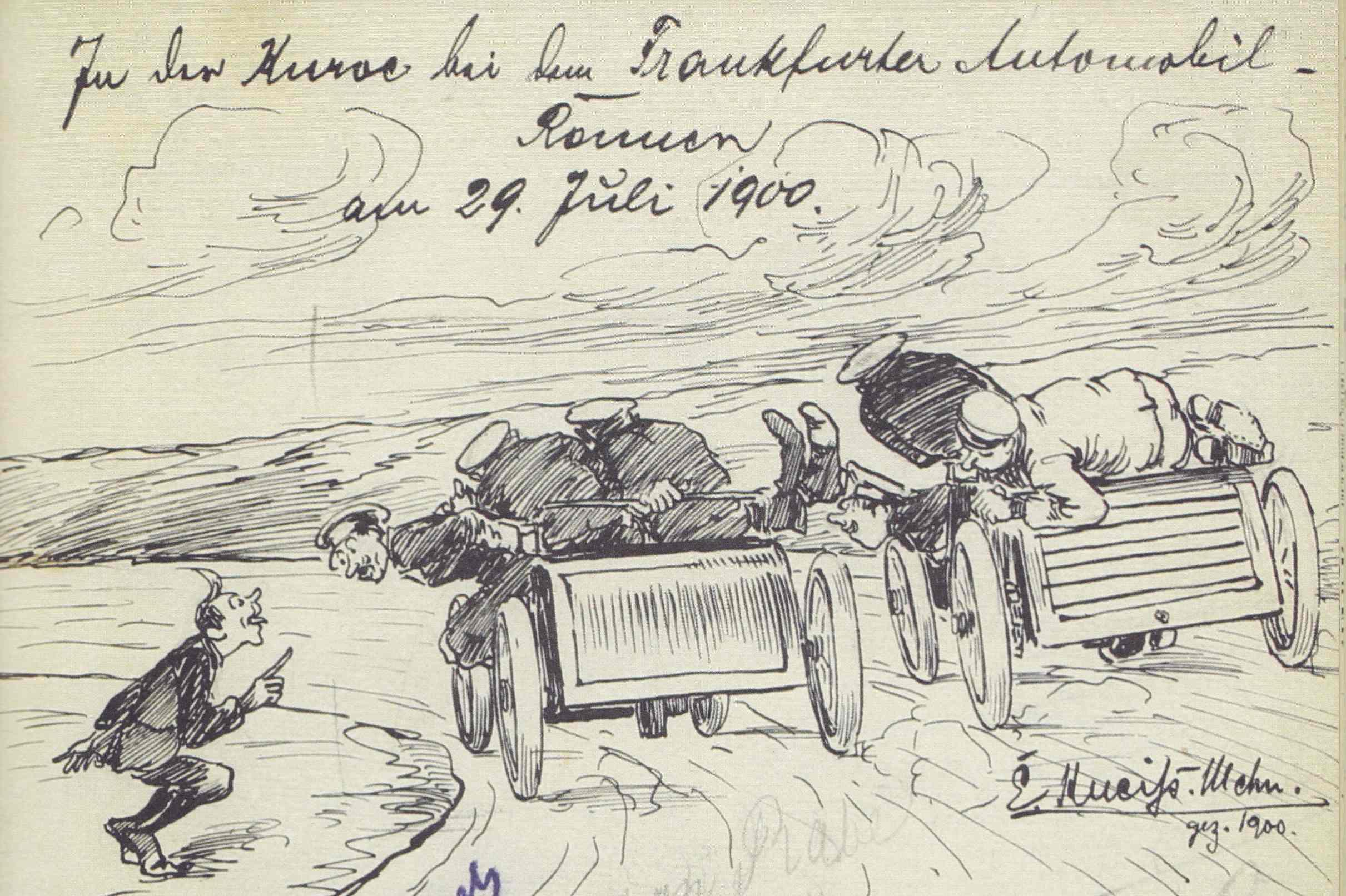 Am 29. Juli 1900 beim Frankfurter Automobil-Rennen (Zeichnung aus dem Schnauferl-Buch)