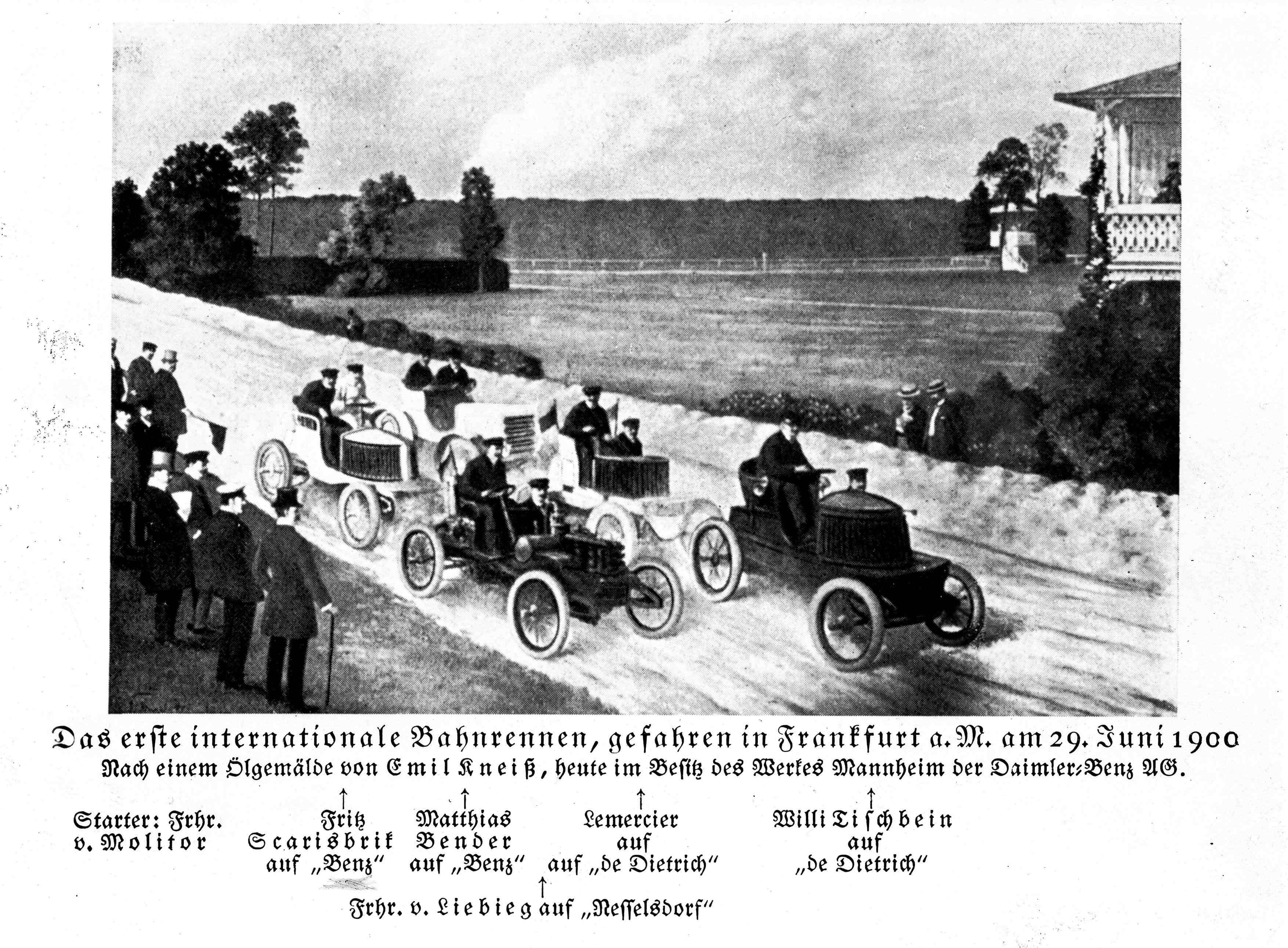 Am 29. Juli 1900 beim Frankfurter Automobil-Rennen (Kneiß-Gemälde)