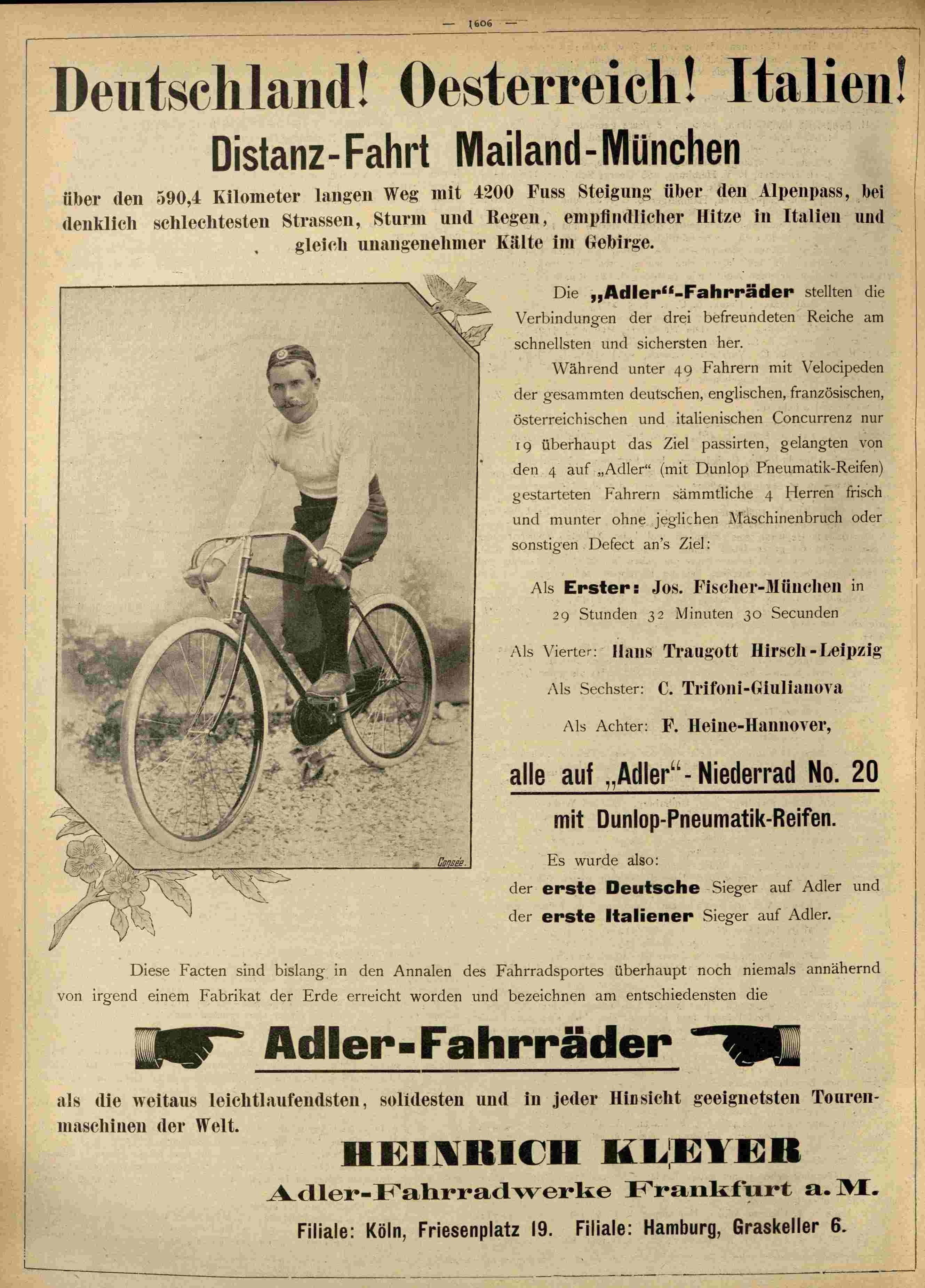 Josef Fischer gewinnt das Rennen Mailand-München auf einem Adler-Fahrrad