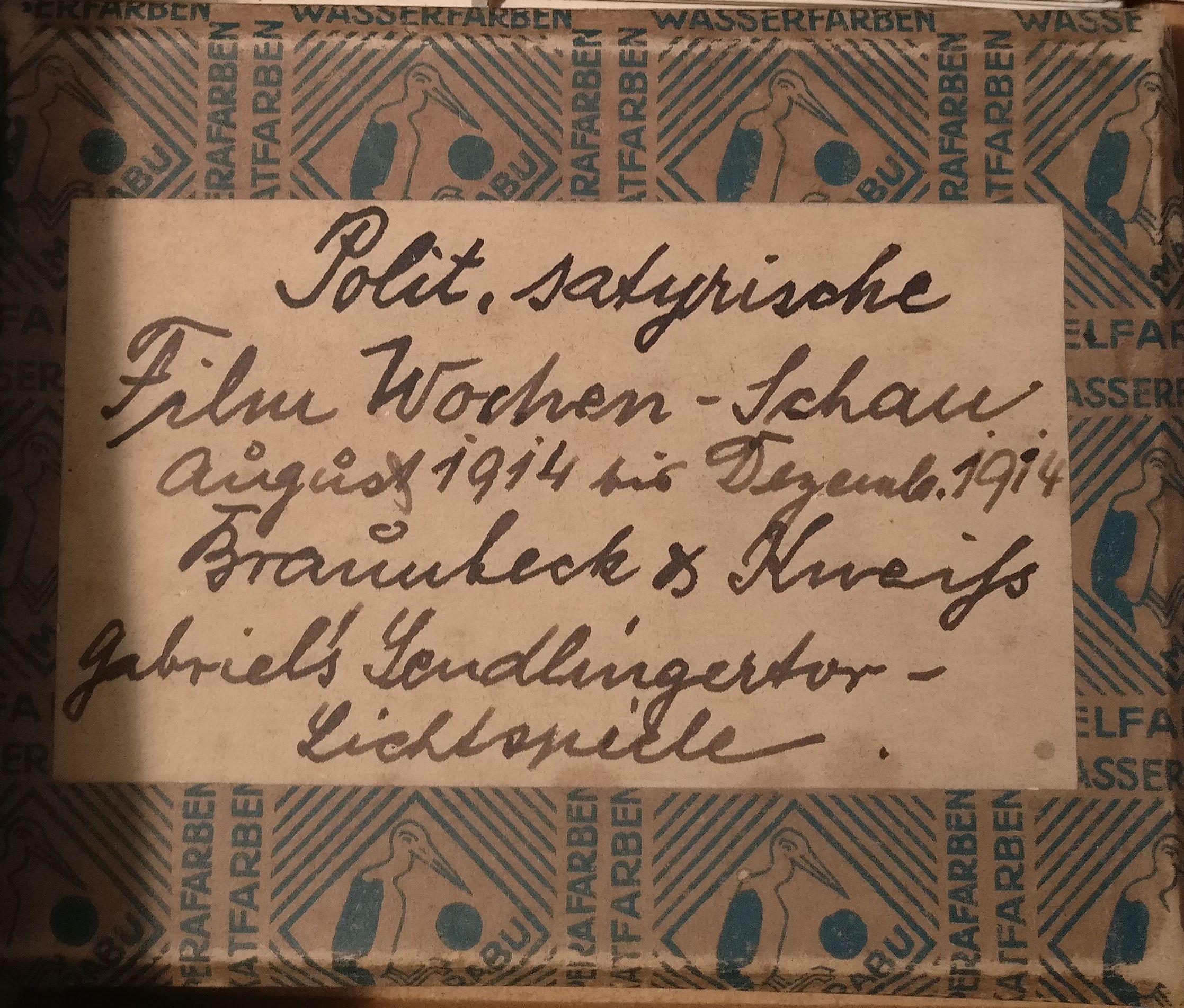In dieser Schachtel bewahrte Kneiß kleine Filmstücke von Ende 1914 auf