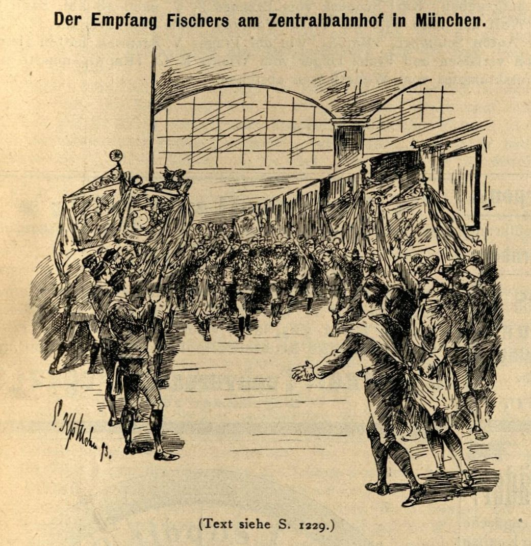 Der Empfang Fischers am Zentralbahnhof in München