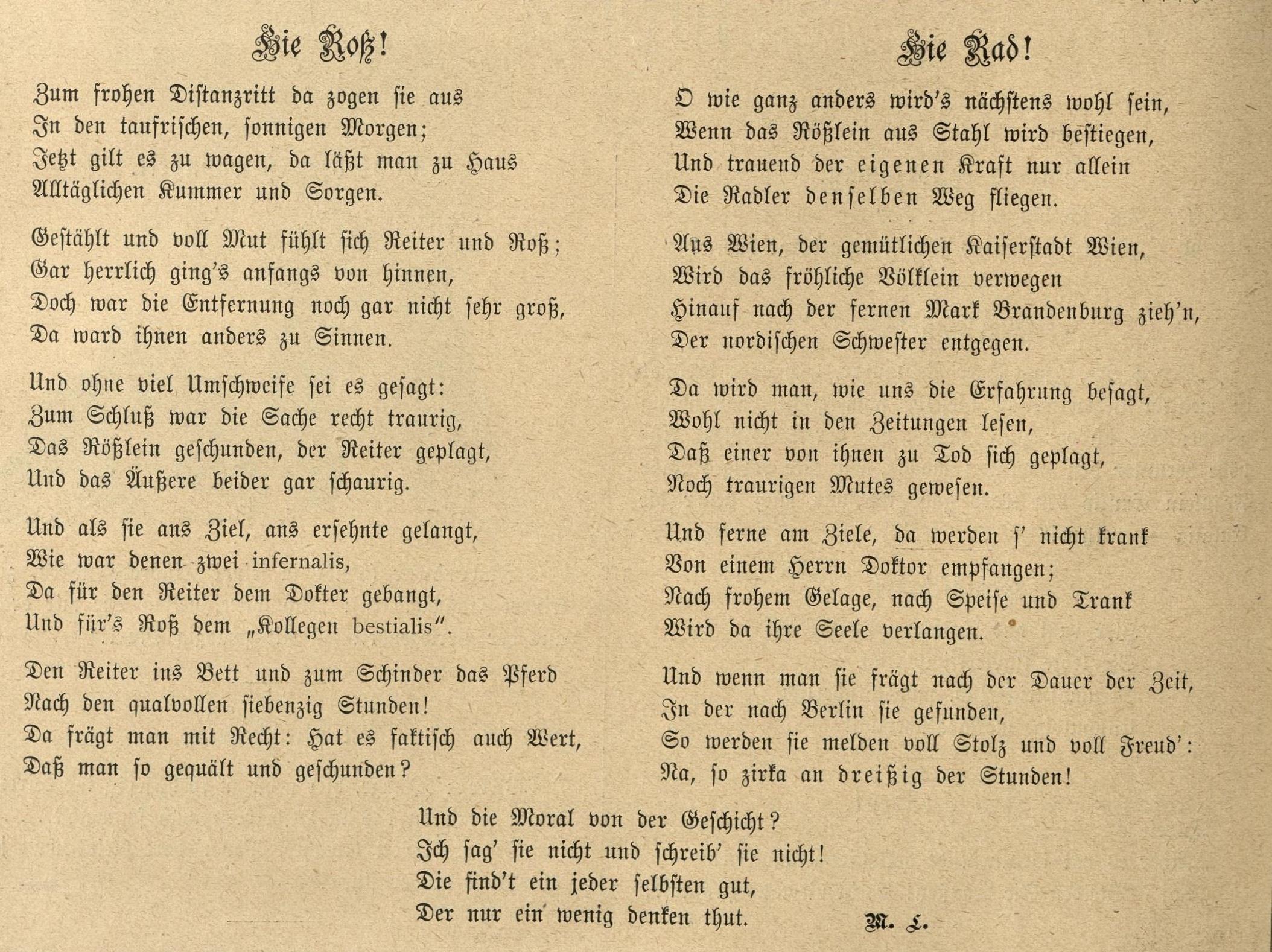 Dieses Gedicht entstand noch vor der Durchführung des Straßenrennens Wien-Berlin