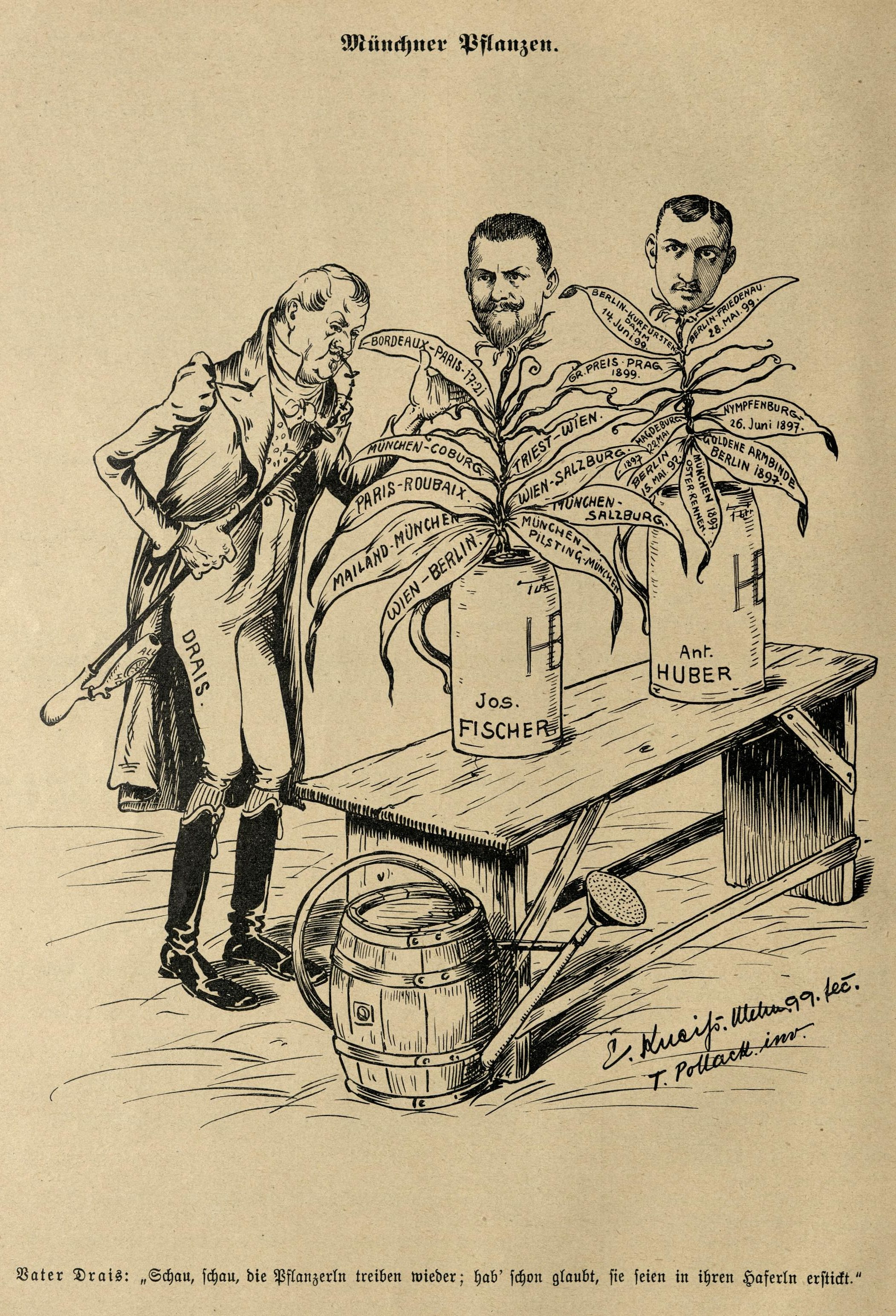 """Vater Drais: """"Schau, schau, die Pflanzerln treiben wieder; hab' schon glaubt, sei seien in ihren Haferln erstickt."""""""