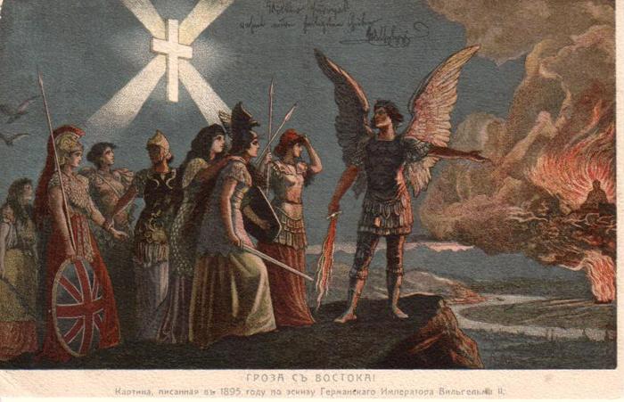 """Eine russische Postkarte des Knackfuß-Bildes mit """"Widmung"""" Wilhelms II."""