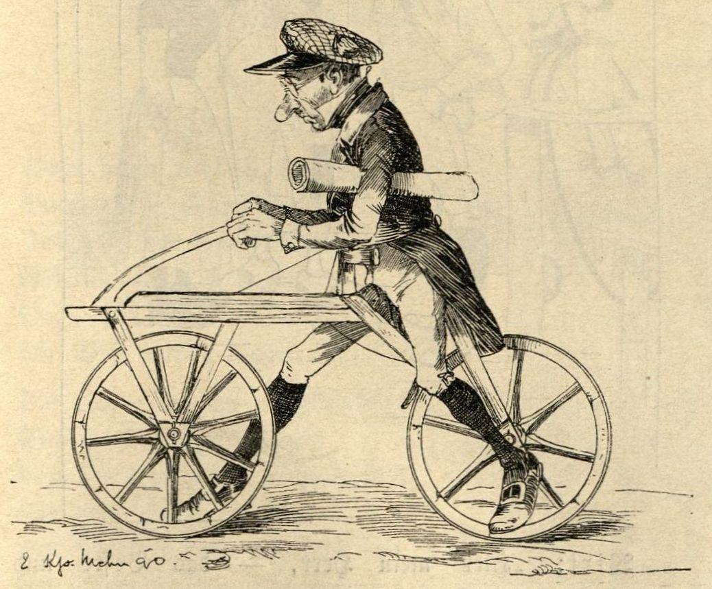 Kneiß zeichnet Carl v. Drais auf seiner Laufmaschine: Drehbarkeit des Vorderrades fehlt