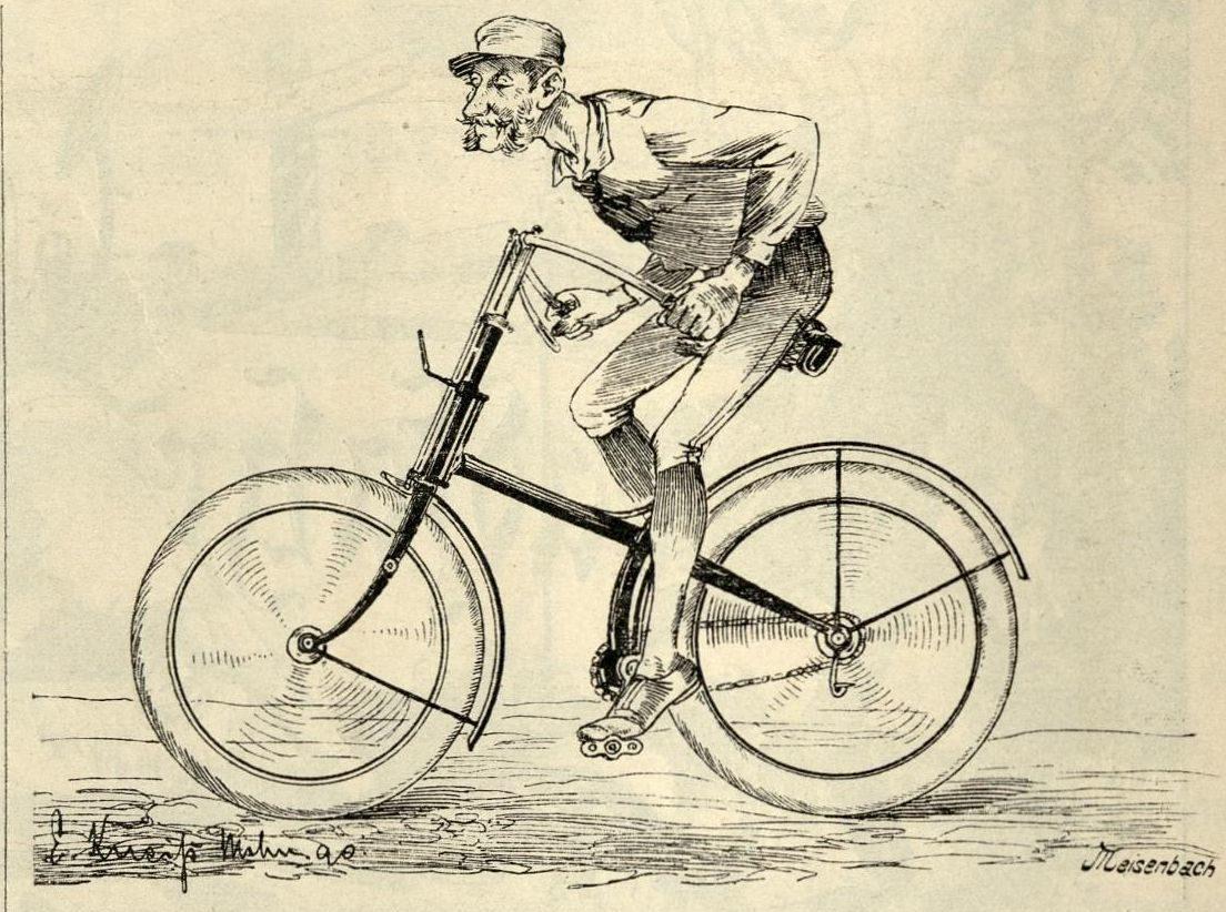 Ein Radfahrer auf einem Rover mit Kreuzrahmen, aber auch Dunlop-Pneumatics