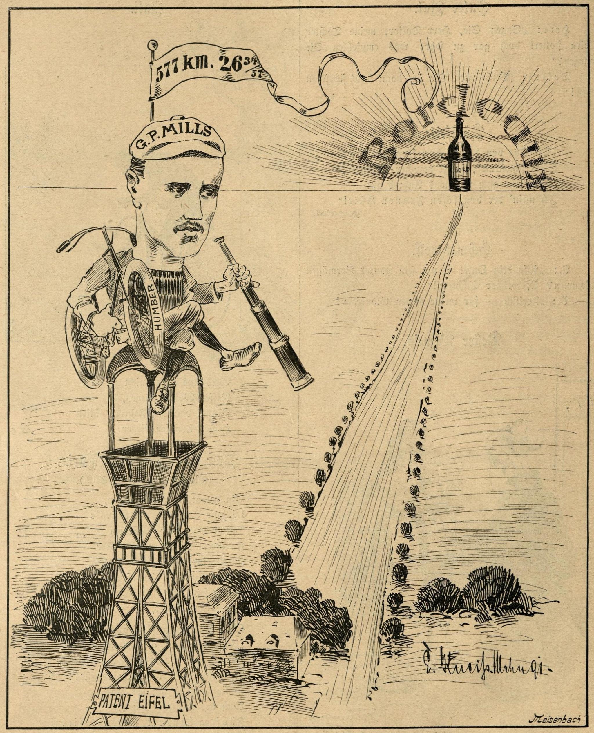 Der Engländer G.P. Mills gewinnt mit einem Humber-Rad die erste Radfernfahrt Paris-Bordeaux.