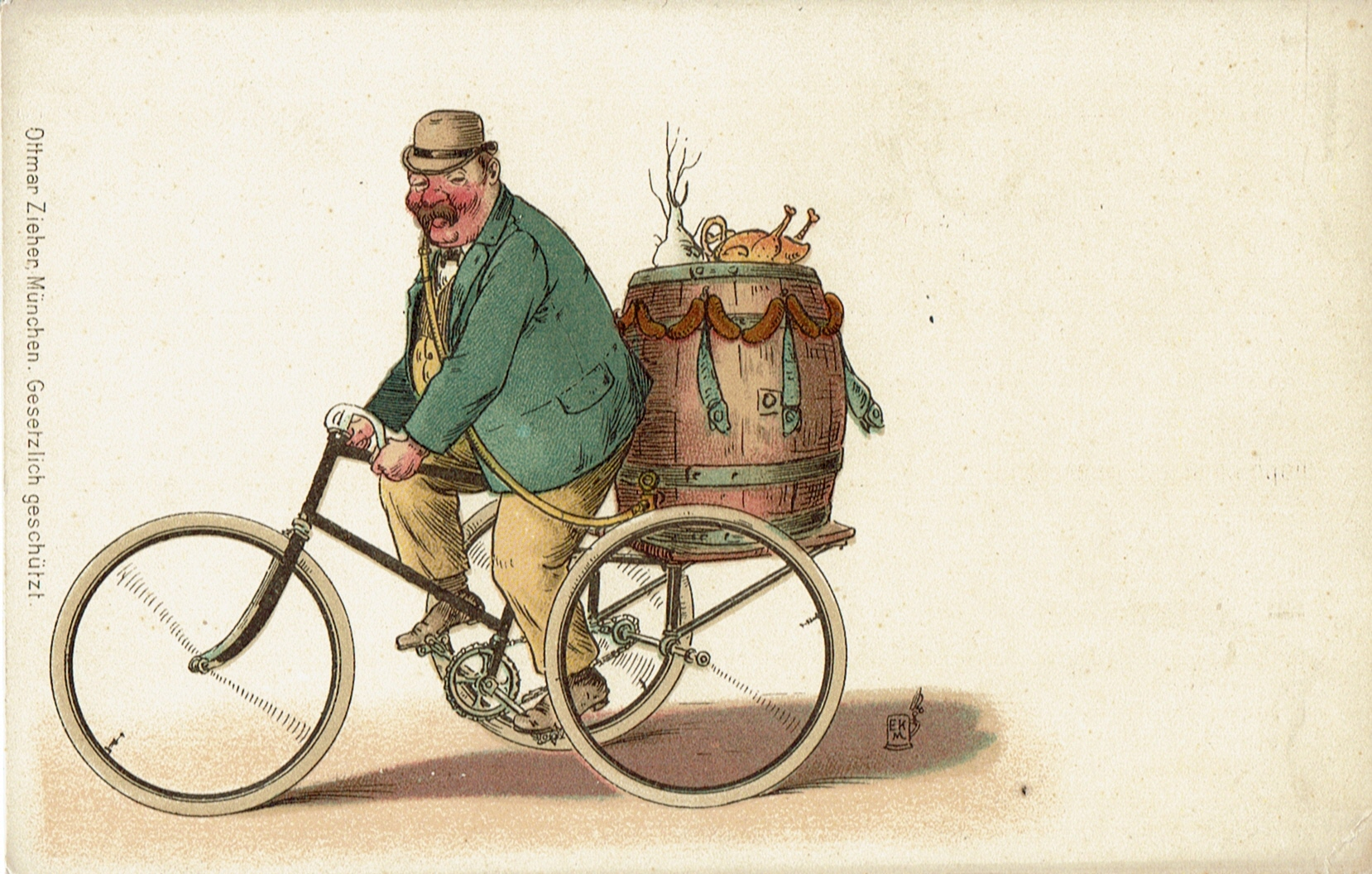 Ein Bierfass auf einem Tricycle, zum Mund des Fahrers führt ein Schlauch