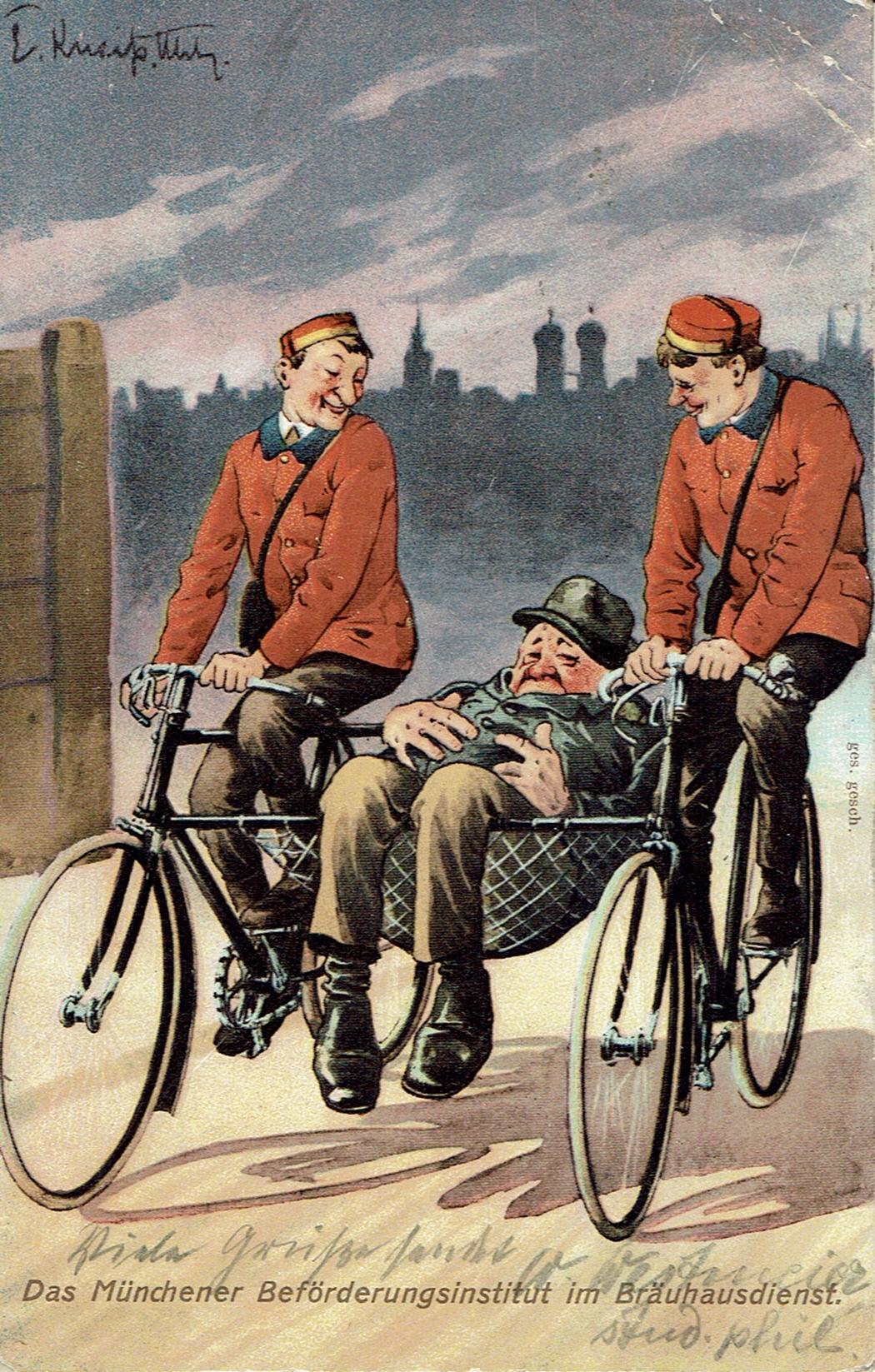 """Die """"Roten Radler"""" waren (seit 1908) in München die ersten Fahrradkuriere"""