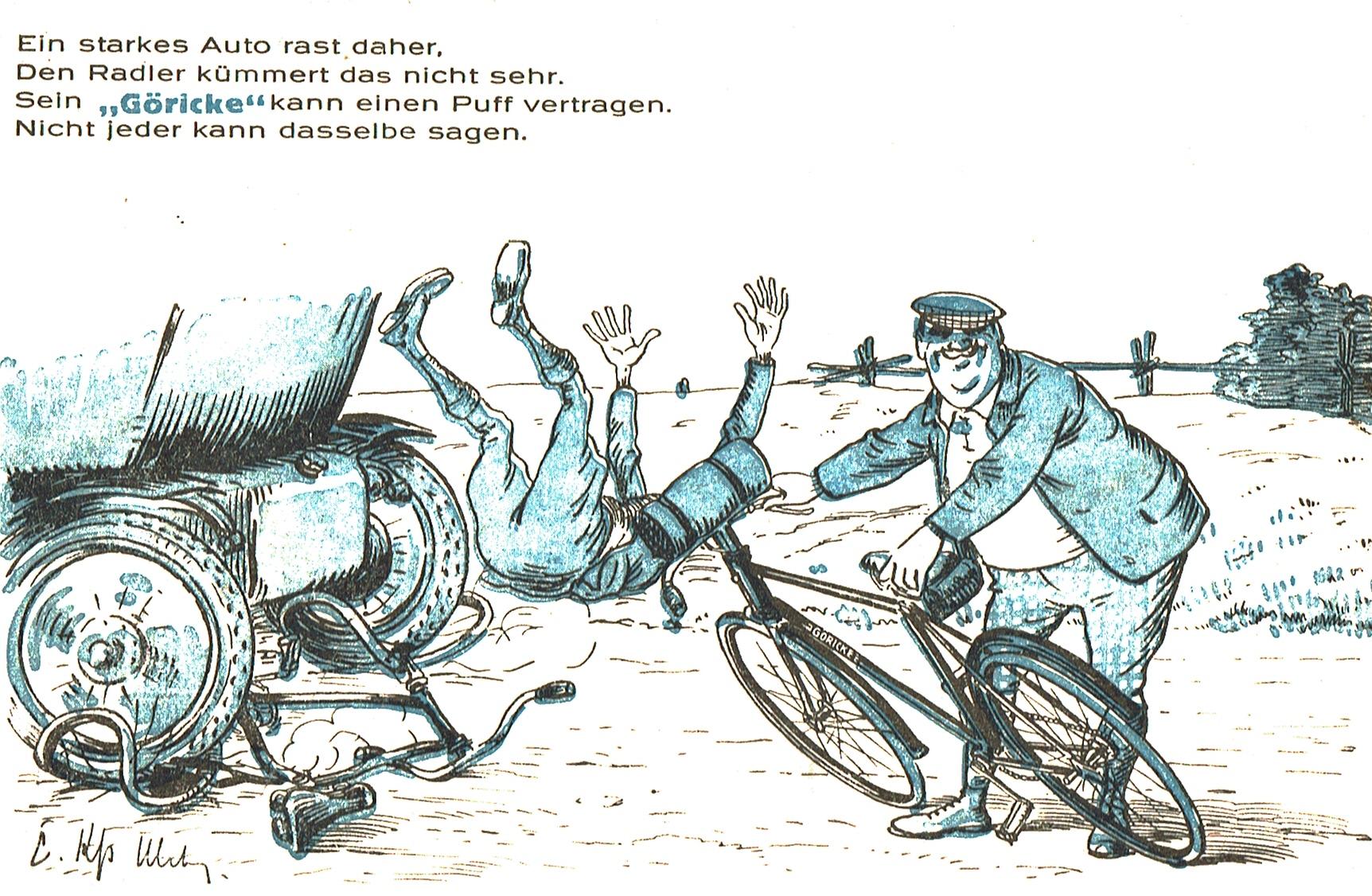 Reklame für die Göricke-Fahrräder, die angeblich auch eine Kollision mit einem Auto überstehen