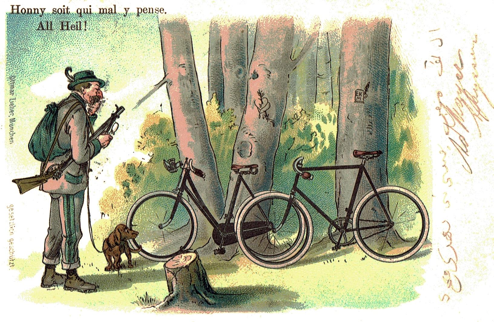 Ein Jäger, der am Waldrand ratlos vor einem Damen- und einem Herrenrad steht: Honni soit, qui mal y pense