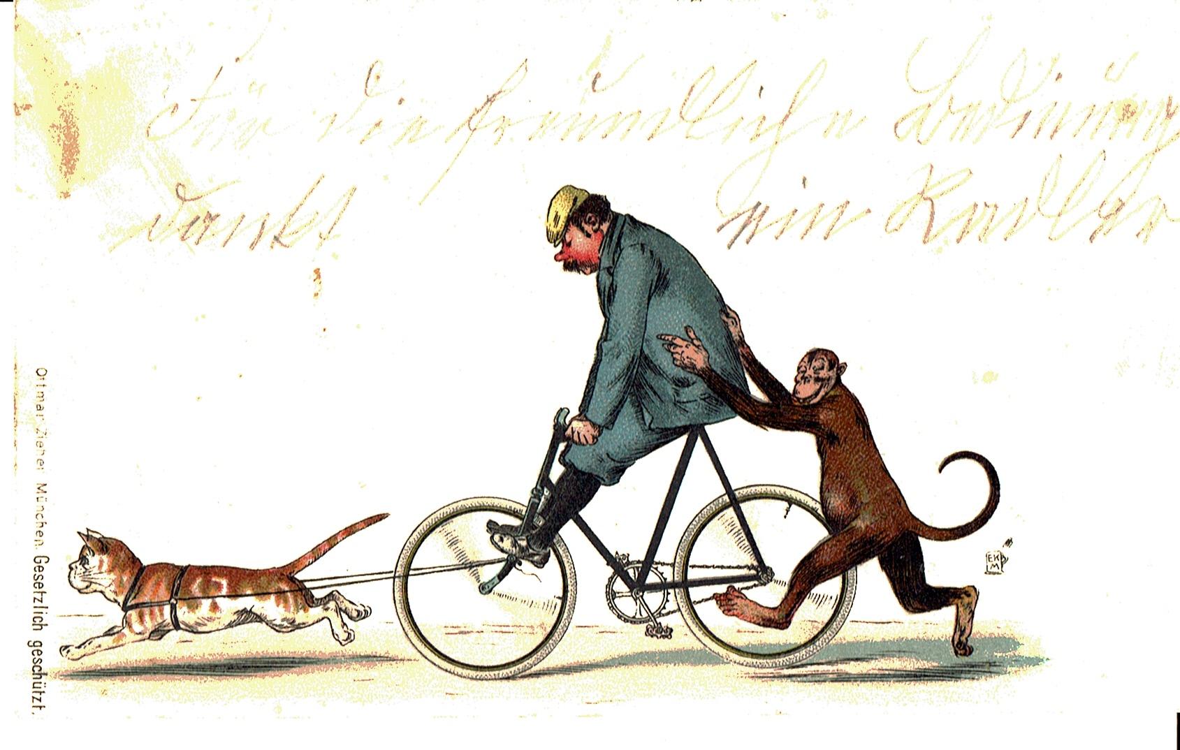 """Ein Radfahrer, der von """"Kater"""" und """"Affe"""" nach Hause gezogen wird"""