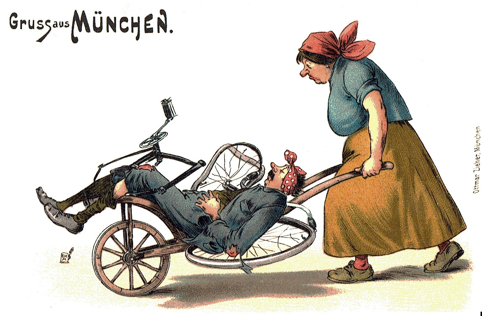 Eine Frau, die den mit dem Fahrrad gestürzten Mann auf einem Schubkarren nach Hause fährt