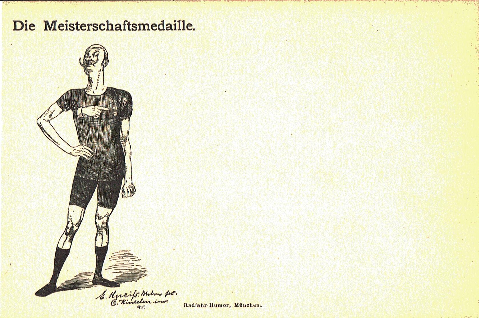 Ein Athlet, der auf seinem Trikot auf die errungene Medaille hinweist