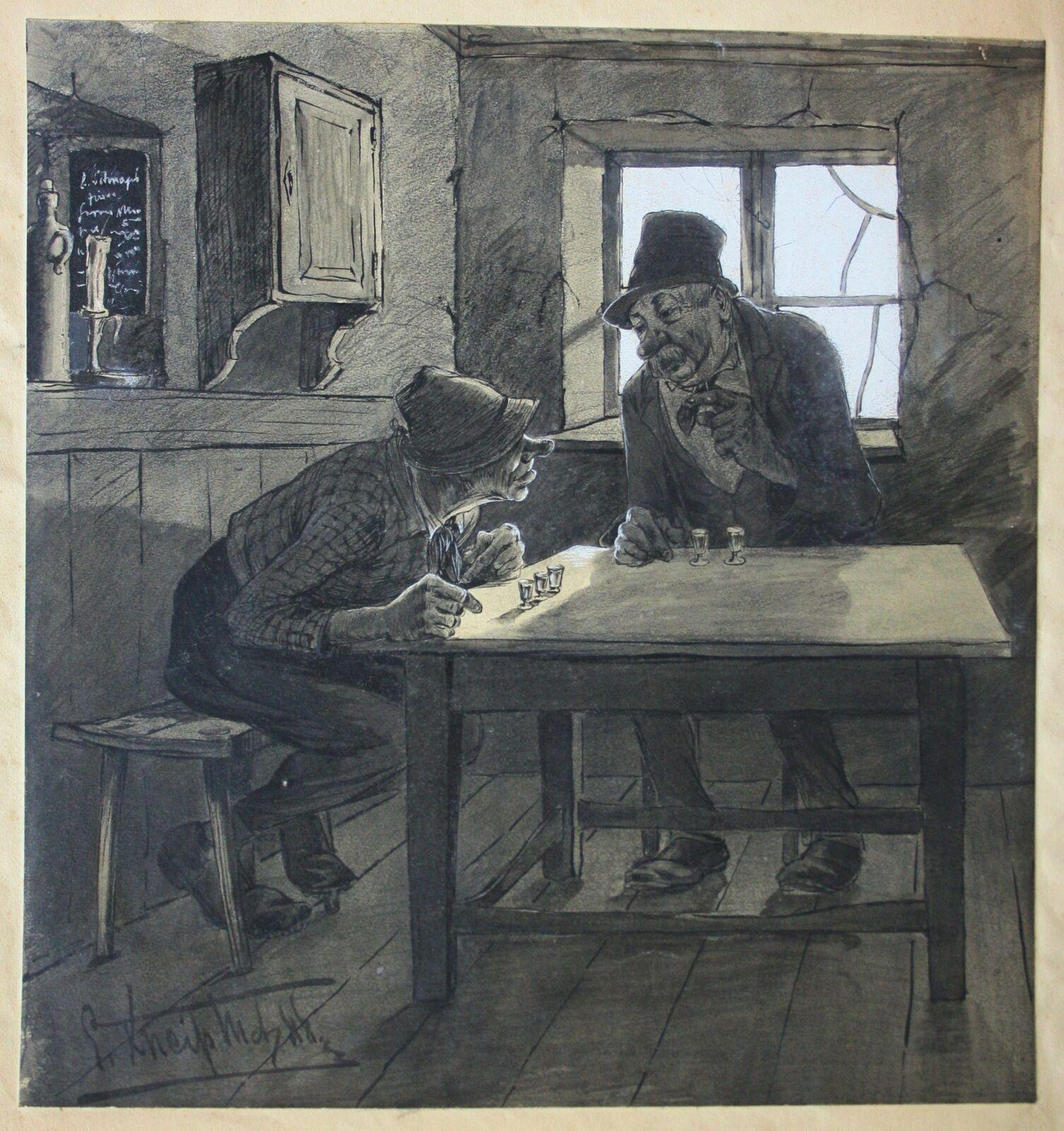 """In der originalen Zeichnung hat der """"Schnapsfreund"""" zur Linken drei Stamperlgläser vor sich, sein Gegenüber jedoch zwei."""