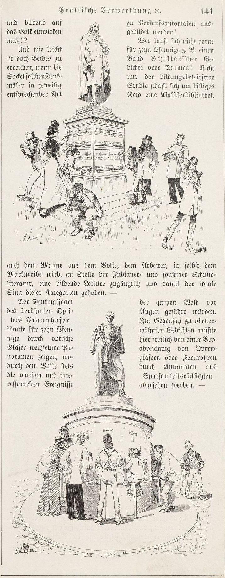 Alternative Verwendung der Denkmäler für Schiller und Fraunhofer