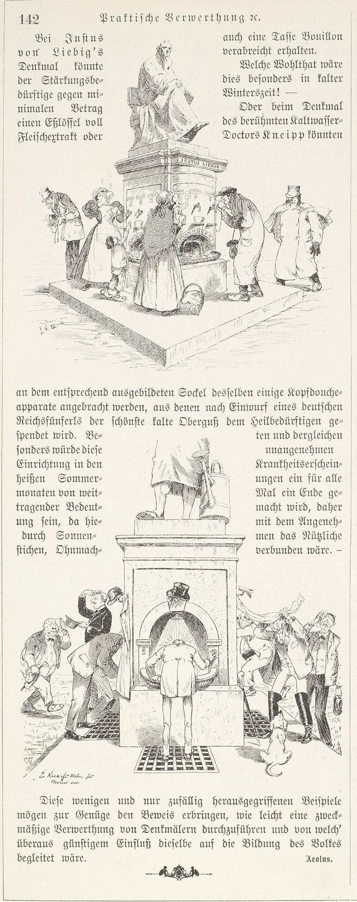 Alternative Verwendung der Denkmäler für Justus v. Liebig und Pfarrer Kneipp