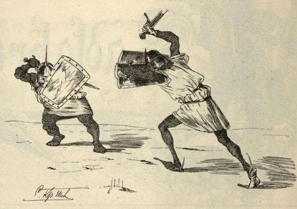 Kunz und Kuno gehen mit den Schwertern aufeinander los