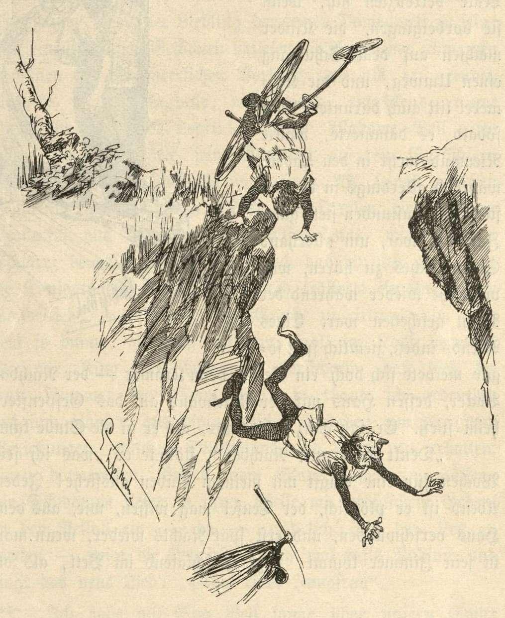 Kunz und Kuno stürzen in den Burggraben