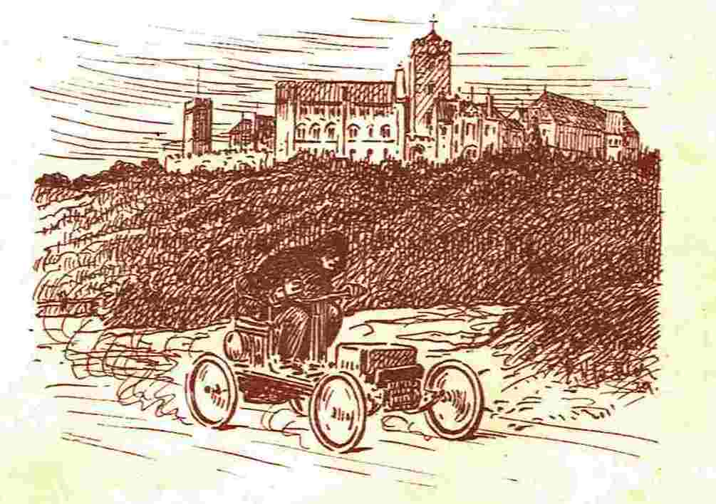Ein Auto zu Füßen der Wartburg