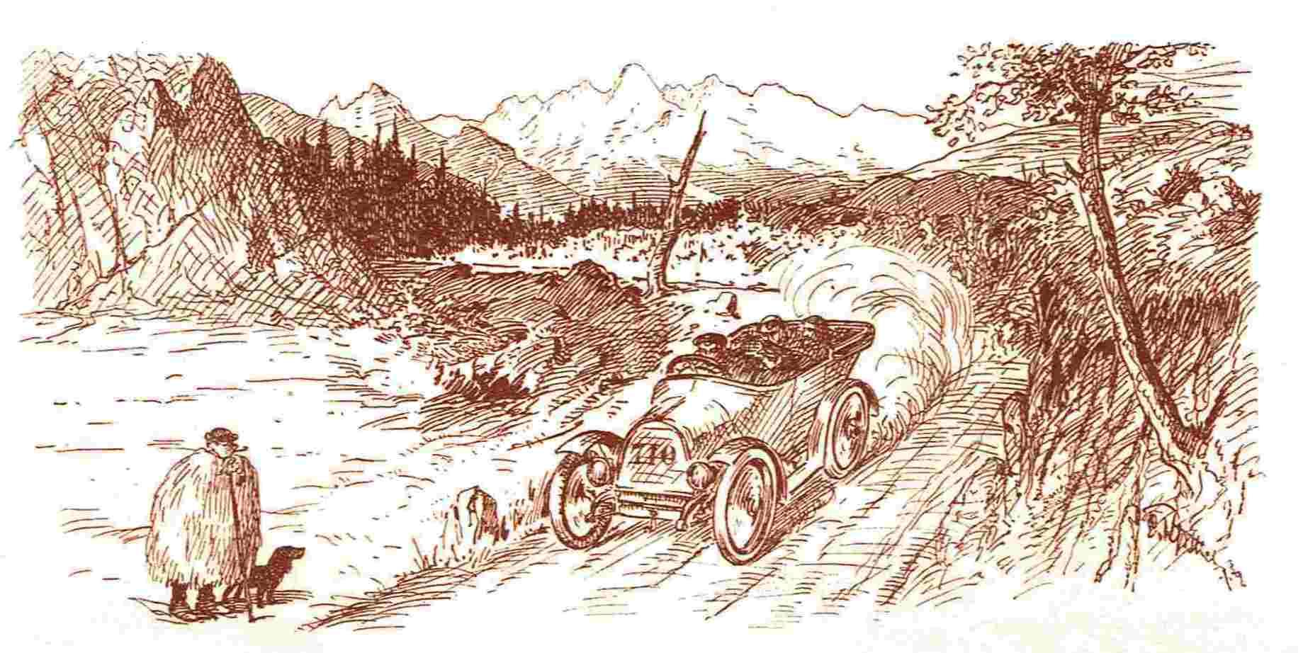 Ein Automobil passiert bei einer Prinz-Heinrich-Fahrt einen staunenden Schäfer