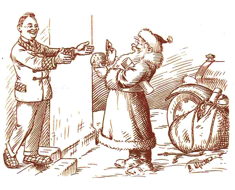 Der Weihnachtsmann überreicht einem Schnauferlbruder den Jubiläumskrug
