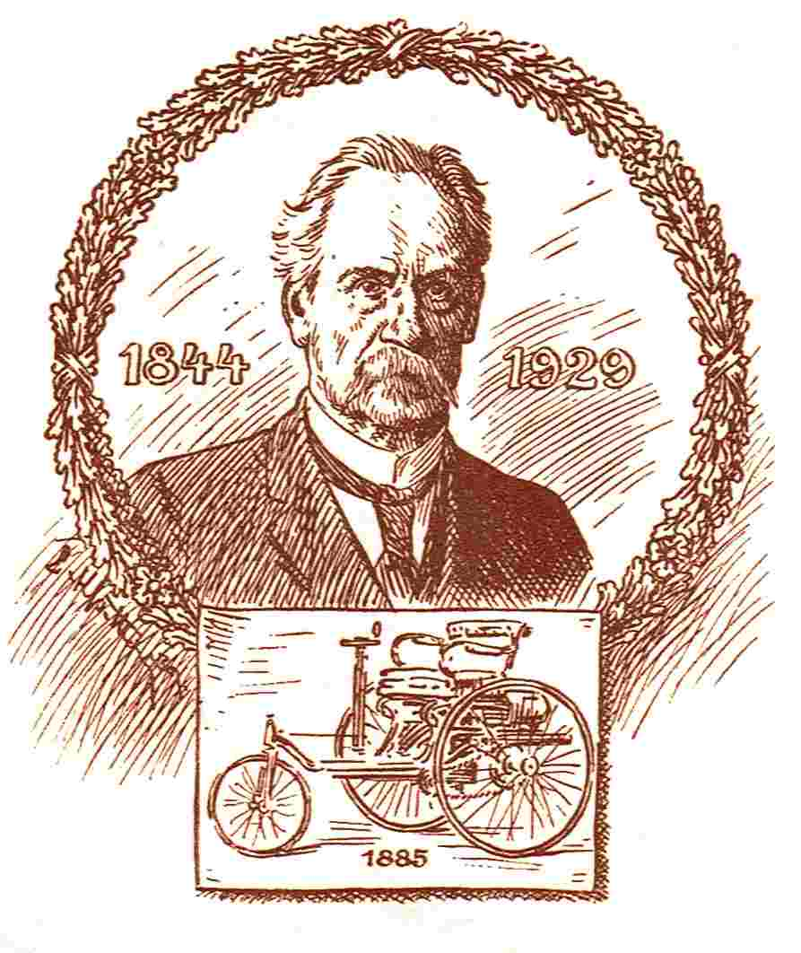 Carl Benz mit den Lebensdaten und dem Patentmotorwagen Nr.1