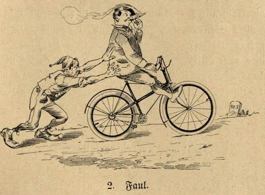 Fauler Radfahrer lässt sich bergauf schieben