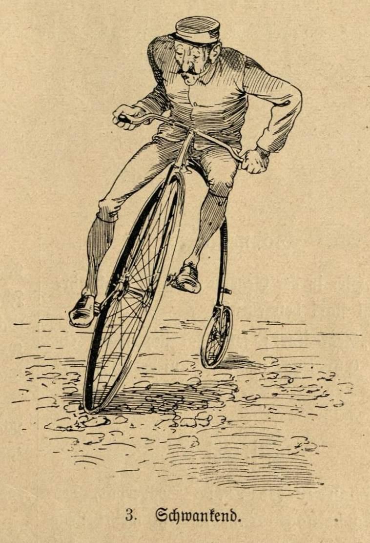 Schwankender Radfahrer auf einem Hochrad