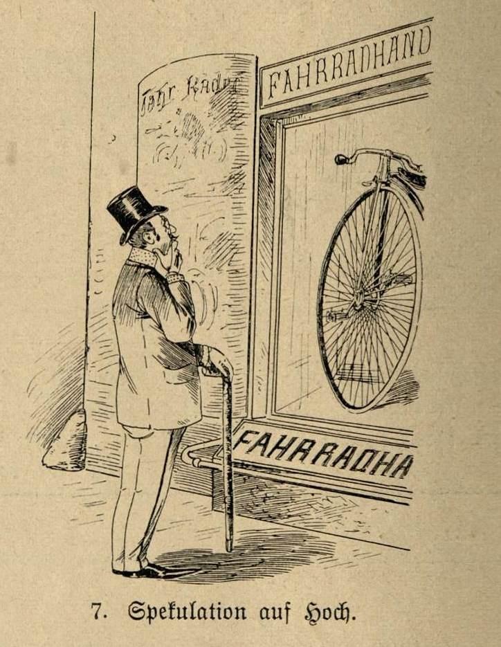 Ein Herr spekuliert vor einer Fahrradhandlung auf ein Hochrad