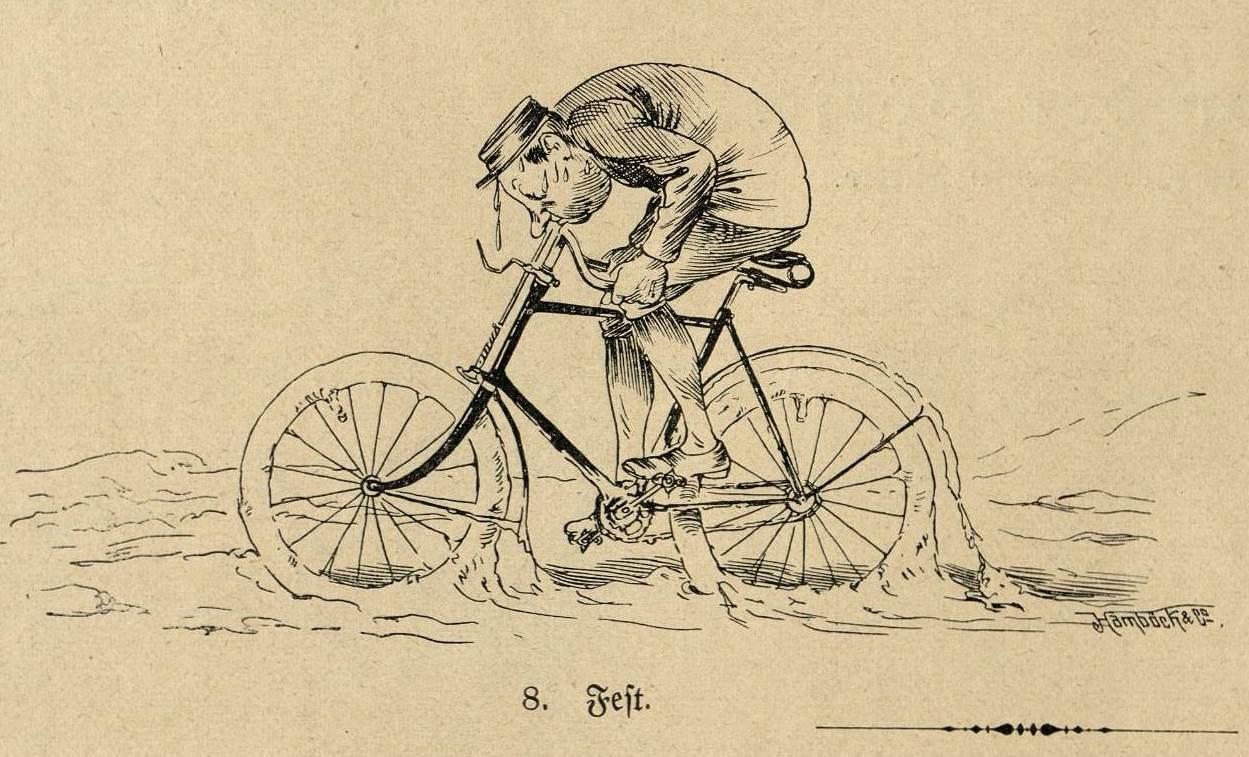 Radfahrer steckt im Schlamm fest.