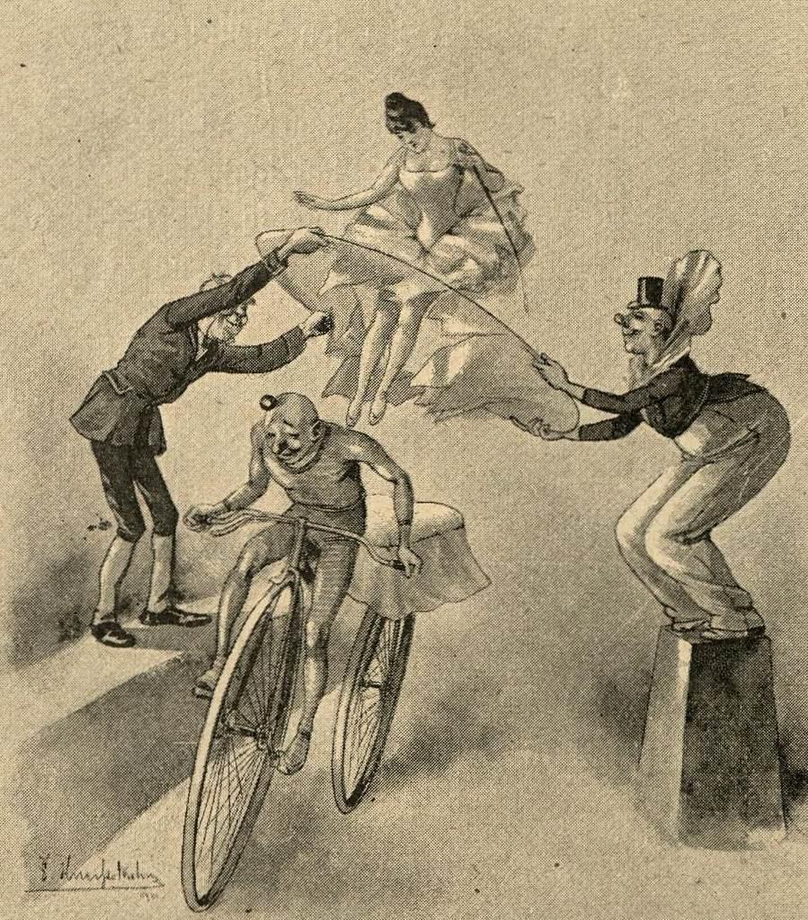 Statt auf Pferd Akrobatik auf Fahrrad