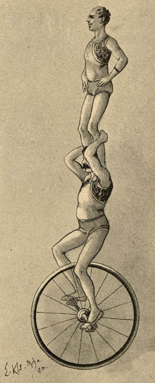 Zwei Männer (übereinander) auf dem Einrad