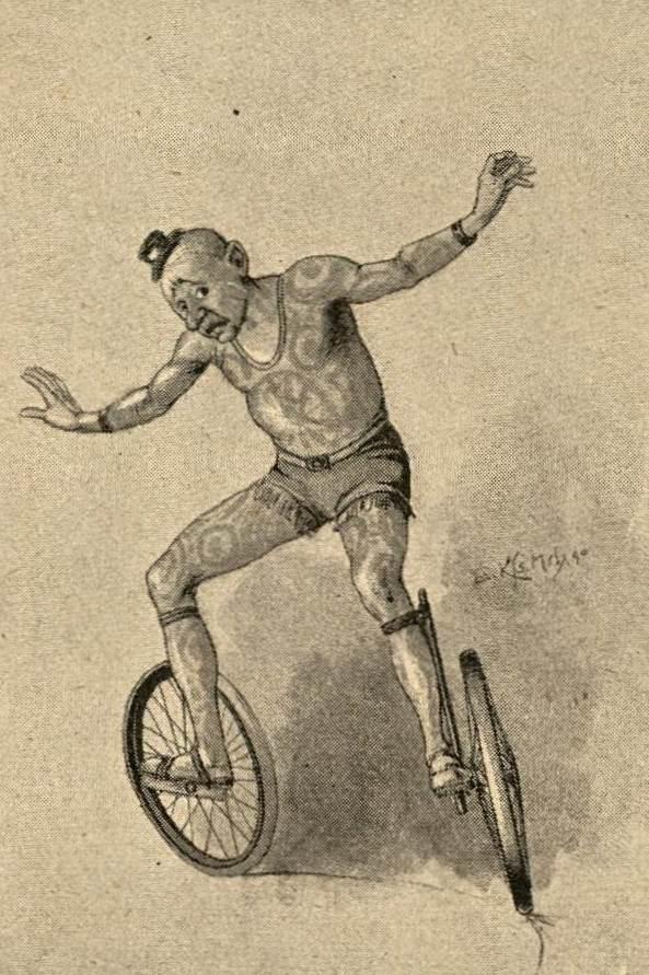 Clown mit zwei Einrädern am Fuß