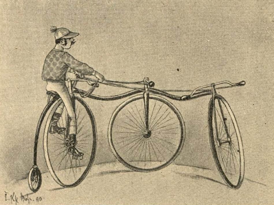 """Jockey mit zwei Vorderrädern """"Dreifache Schule"""""""