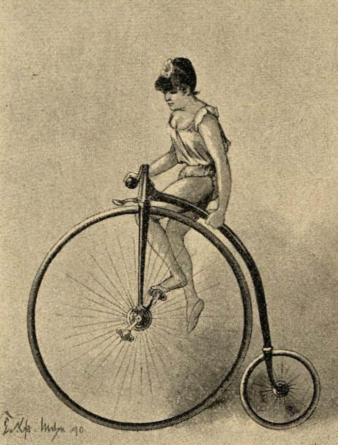 Artistin auf Hochrad ohne Sattel