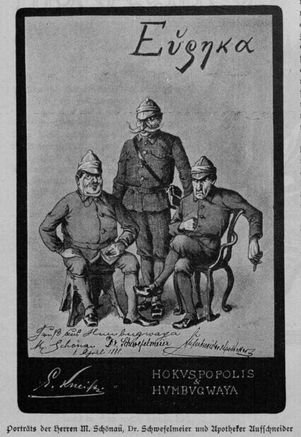 Die Herren Schönau, Dr. Schwefelmeier und Apotheker Aufschneider